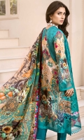 Front: Embroidered Cutwork Panel Embroidered Organza Side Panel (2) Back: Digital Printed Lawn Sleeves: Digital Printed Lawn Pants: Dyed Cambric Dupatta: Digital Printed Silk
