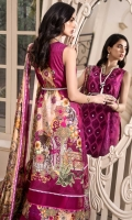 Front: Embroidered Cut-work Panel Embroidered Organza Side Panel (2) Back: Digital Printed Lawn Sleeves: Digital Printed Lawn Pants: Dyed Cambric Dupatta: Digital Printed Silk