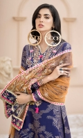 Front: Dyed Jacquard Back: Dyed Jacquard Sleeves: Dyed Jacquard Pants: Printed Cambric Dupatta: Embroidered Net Embroideries: 1) Neckline 2) Patches for Dupatta (6) 3) Border for Dupatta