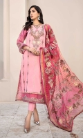 Front: Embroidered Lawn Back: Printed Lawn Sleeves: Printed Lawn Pants: Dyed Cambric Dupatta: Embroidered Zari Organza Embroideries: 1) Neckline 2) Border for Front 3) Patti for Sleeve