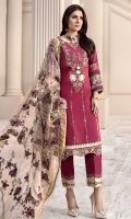 Front: Embroidered Lawn Back: Printed Lawn Sleeves: Printed Lawn Pants: Dyed Cambric Dupatta: Embroidered Zari Organza Embroideries: 1) Neckline 2) Border for Front 3) Patti for Sleeves