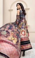 Front:Embroidered Schifli Jacquard Lawn Back: Digital Printed Lawn Sleeves: Digital Printed Lawn Pants: Dyed Cambric Dupatta: Digital Printed Pure Chiffon Embroideries: 1) Neckline 2) Ghera Border for Front 3) Patches for Front (2)