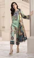 Front:Embroidered Schifli Jacquard Lawn Back: Digital Printed Lawn Sleeves: Digital Printed Lawn Pants: Dyed Cambric Dupatta: Digital Printed Pure Chiffon Embroideries: 1) Neckline 2) Ghera Border for Front 3) Patches for Front (2).