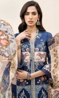 Front: Embroidered Jacquard Back: Dyed Jacquard Sleeves: Embroidered Jacquard Pants: Dyed Cambric Dupatta: Printed Pure Chiffon Embroideries: 1) Front Patti 2) Front Patches (4) 3)Ghera Border 4) Motif Patch For Front (2) 5) Sleeve Motifs (2) 6) Side Panels For Front