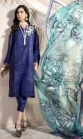 Front: Embroidered Lawn Cutwork Center Panel & Side Panels Back: Printed Lawn Sleeves: Embroidered Cutwork Lawn Pants: Printed Cambric Dupatta: Screen Printed Pure Chiffon Embroideries: 1) Front Motif Patch 2) Ghera Border 3) Sleeve Motifs (2)