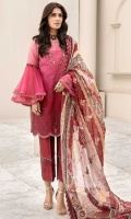 Front: Embroidered Schiffli Lawn Back: Printed Lawn Sleeves: Printed Lawn Pants: Dyed Lawn Dupatta: Printed Pure Chiffon Embroideries: 1) Schiffli Border