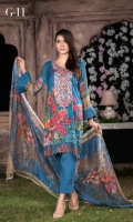 Three Pcs Digital Printed Winter Karandi With Embroidered Fronts & Crinkle Chiffon Dupatta