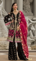 Front: Self Jaquard Embroiderd Lawn Back: Dyed Self Jaquard Lawn Sleeves: Self Jaquard Embroiderd Lawn Gharara: Printed Cambric Dupatta: Gold Jaquard Embroideries: Embroidered Patti for Front Embroiderd Silk Applique Border 2 Embroiderd Patches For Shirt Embroidered border for sleeves