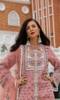Front: Yarn Dyed Jaquard Lawn  Back: Yarn Dyed Jaquard Lawn Sleeves: Yarn Dyed Jaquard Lawn Pants: Dyed Cambric Dupatta: Embroiderd Net Embroideries: Hand made Pearl Placket