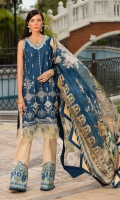 Front: Schiffli Embroiderd Lawn Back: Dyed Lawn Sleeves: Dyed Lawn Pants: Dyed Cambric Dupatta: Digital Printed Tissue Silk Embroideries:Embroiderd sleeves silk patti Embroiderd pants Silk Border