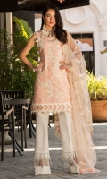 Front:Self Jaquared Embroiderd Lawn Back: Self Jaquard Lawn Sleeves: Self Jaquard Lawn Pants: Printed Cambric Dupatta: Embroidered Net Dupatta Embroideries: 4Embroidered Silk Patches Hand embalished Pearl Neckline