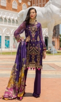 Front: Embroidered organza front panel & embroidered organza side panels Back: Plain organza Sleeves: Plain organza Pants:Dyed cambric Dupatta: Digital printed tissue silk Embroideries: Motif patch for sleeves(2)Embroidered border