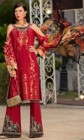Front: Jaquard Lawn Back: Jaquard Lawn Sleeves: Jaquard Lawn Pants:Dyed Cambric Dupatta: Digital Printed Tissue Silk Embroideries: Embroidered Silk Neckline Embroiderd Silk Patches For Trouser (2) Embroiderd Silk Patti