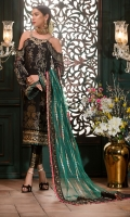 Front: Jamawar jacquard  Back: Jamawar jacquard  Sleeves: Jacquard  Pants: Dyed raw silk  Dupatta: Embroidered net  Embroideries:  1) Handmade neckline                            2) Jacquard borders for dupatta                            3) Sequin border for the front                            4) Sleeves Patti