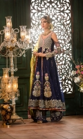 Front: Mukesh net Back: Mukesh net Sleeves: Net Pants: Dyed jamawar jacquard Dupatta: Woven dyed masoori Embroideries:  1) Motifs (7)                           2)Ghera border                           3)Silk Patti                           4)Embroidered yoke for front