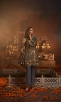 Zari net Front Embroidered Shirt Embroidered hem border & Sleeve Patch Trouser Patch Raw Silk Trouser Zarri Dupatta.