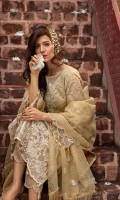 Organza Jacquard Shirt Raw Silk Trouser Embroidered Patch Sleeve & Trouser Front Embroidered Border Organza Embroidered Dupatta