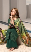 Front: Dyed Embroidered Aplique Khaddar Back: Digital Printed Khaddar Sleeves: Digital Printed Khaddar Pants: Dyed Khaddar Dupatta: Digital Printed Shawl Embroideries: 1) Ghera border