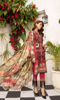 1.25meter front printed with embroidery 1.25 meter back printed 0.5 meter sleeves printed 2.5 meter chiffon dupatta printed 2.5 meter cotton trousers
