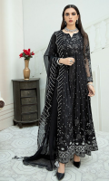 4 Piece Ready-To-Wear Fully Embroidered Chiffon Frock With Organza Dupatta Decorated With Embellished Details & Paired With Rawsilk Cigarette Pants