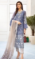Shirt: - Embroidered Chiffon Dupatta: - Embroidered Chiffon Trouser: - Dyed with Embroidery
