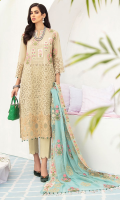 Embroidered Front Lawn Schiffli 1.25 Meter Lawn Back 1.25 Meter Embroidered Lawn Schiffli Sleeves 1 Yard Embroidered Border  0.75 Meter Embroidered Chiffon Dupatta 2.50 Meter Cotton Trouser 2.50 Meter