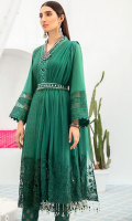 Front  Schiffli Lawn 1 Meter Embroidered Front Lace 0.75 Meter Mirror Work Galla Patti 1pcs Lawn Back & Sleeves 2 Meter               Plain Organza 0.75 Meter Embroidered Chiffon Dupatta 2.50 Meter Cotton Trouser 2.50 Meter