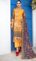 Embroidered Karandi Lawn Printed Shirt Embroidered Bamber Chiffon Dupatta Dyed Cotton Trouser