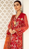 Embroidered Chiffon Front With Hand-Embellishment Embroidered Chiffon Front Daman Patti With Hand-Embellishment Embellished Organza Neckline Embroidered Chiffon Back Embroidered Chiffon Sleeves With Hand-Embellishment Embroidered Chiffon Foil Printed Dupatta Dyed Inner Shirt Lining Trouser Raw Silk 4 Piece Suit