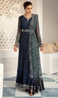 Embroidered Hand-Embellished Chiffon Frock Front & Back Embroidered Chiffon Neckline Embroidered Chiffon Sleeves Embroidered Chiffon Dupatta Dyed Inner Shirt Lining Trouser Raw Silk 4 Piece Suit