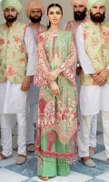 Embroidered Front Net With Hand-Embellishment Back Embroidered Net Embroidered Net Sleeves With Hand-Embellishment Net Dupatta Embroidered Dupatta Border Dyed Inner Shirt Lining Trouser Raw Silk Embroidered Trouser Motif 4 Piece Suit