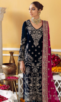Embroidered, Sequined And Hand-Embellished Velvet Front Front Border Sequined, Embroidered & Hand-Embellished Plain Back Velvet Velvet Sleeves Sequined, Embroidered & Hand-Embellished Rawsilk Trouser Fabric Embroidered Trouser Border Patti Embroidered Chiffon Dupatta With Embroidered, Sequined And Hand-Embellished Pallu Embroidered Organza Dupatta Patti