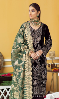 Embroidered, Sequined And Hand-Embellished Velvet Front Front Velvet Border Sequined, Embroidered & Hand-Embellished Plain Back Velvet Embroidered & Sequined Back Patti Velvet Sleeves Sequined, Embroidered & Hand-Embellished Rawsilk Trouser Fabric Jacquard Organza Dupatta