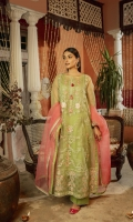 Organza shirt front with tilla and thread embroidery 0.66meters organza sleeves 0.8meters organza shirt back 0.66 meters Organza border for shirt and duppata finishing with tilla and thread embroidery lawn slip 2meters organza dupatta 2.5meters cambric lawn trouser 2.5meters