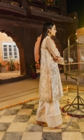 Tilla & thread embroidered raw silk shirt front with plain back: 2meters Organza Gown front and back with Tilla & thread embroidery : 1.50meters Organza Gown sleeves with Tilla & thread embroidery : 0.75meter Oak silk trouser: 2.5meter