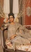 Organza front embroidered with tilla and thread 1.125 meters Organza sleeve embroidered with tilla and thread 0.75meters Organza dyed shirt back 0.818meter Screen printed organza dupatta 2.5meters cambric lawn trouser 2.5meters Organza pattis with tilla and thread embroidery 1.125meters