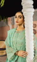 Organza shirt front with tilla and thread embroidery 0.66 meter organza sleeves 0.8 meter organza back 0.66meter Organza front and back hem borders in tilla and thread embroidery Tilla and thread embroidered sleeve border lawn slip 2meter zarri dupatta 2.5meters cambric lawn trouser 2.5meters