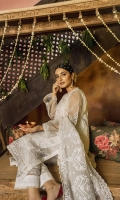 Organza embroidered front panels 1.125meters Organza embroidered back 0.75meter Embroidered organza patiis Embroidered organza dupatta 2.6meters Lawn slip 2meters Cambric lawn trouser 2.5meters
