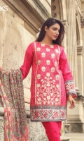 Shell Pink Unstitched 3 Piece Lawn Suit