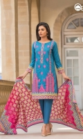 Mosaic Blue Unstitched 3 Piece Lawn Suit