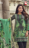 Black Vivid Green Unstitched 3 Piece Lawn