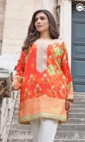 Hot Coral Unstitched Kurti