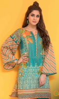 Peacock Blue Unstitched Lawn Kurti
