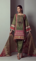 PRINTED LAWN SHIRT WITH EMBROIDERED NECK   PRINTED LAWN DUPATTA  CAMBRIC DYED TROUSER