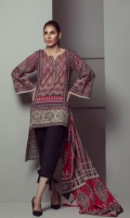 PRINTED LAWN SHIRT WITH EMBROIDERED DAMAN  PRINTED LAWN DUPATTA           CAMBRIC DYED TROUSER