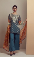 PRINTED LAWN SHIRT WITH EMBROIDERED FRONT  CHIFFON PRINTED DUPATTA  CAMBRIC DYED TROUSER