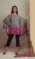 PRINTED LAWN  SHIRT WITH DAMAN EMBROIDERY  CHIFFON PRINTED DUPATTA  CAMBRIC DYED TROUSER