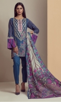 PRINTED LAWN SHIRT WITH EMBROIDERED NECK  LAWN PRINTED DUPATTA  CAMBRIC DYED TROUSER
