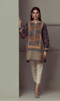 PRINTED PANEL KURTI WITH EMBROIDERED SLEEVES