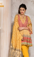Printed Linen Shirt With Embroidered Neck Printed Twill Dupatta Dyed Linen Shalwar